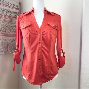 Cache shimmery orange snap front v neck shirt S